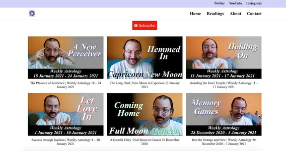 Screenshot of SJ. Anderson's website featuring an array of screengrabs from his YouTube channel.