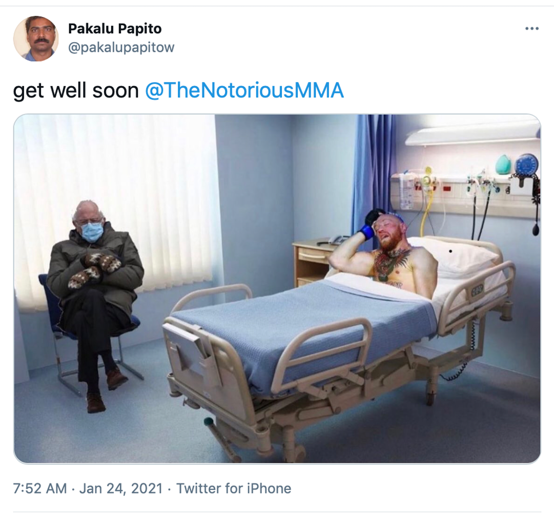 """""""Thread See new Tweets Conversation Pakalu Papito @pakalupapitow get well soon @TheNotoriousMMA"""" McGregor photoshopped into a hospital bed while Bernie Sanders sat in the chair looking grumpy, taken from the inauguration, is photoshopped into the corner"""