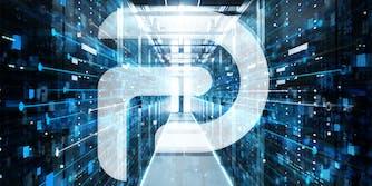 Parler logo over datacenter background