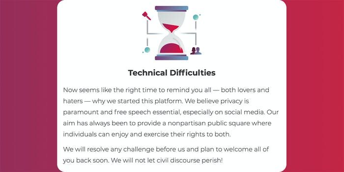 parler technical difficulties message