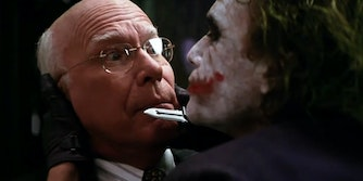 """Joker holds a knife up to Senator Patrick Leahy in """"The Dark Knight"""""""