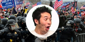 man making surprised face over trump supporters clashing with police