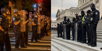 heavy police presence with riot gear for BLM protests (L) light police presence with no gear for Trump riots (R)