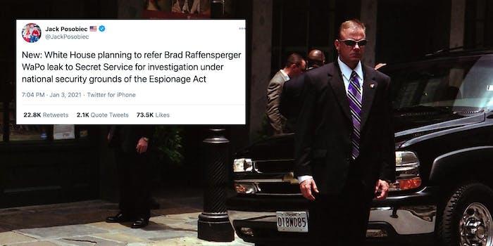 A tweet from Jack Posobiec next to a Secret Service agent