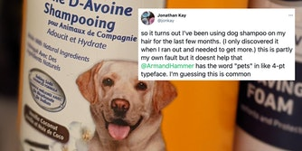A dog shampoo bottle and a tweet from Jonathan Kay