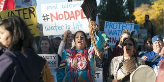 Indigenous woman holds #NODAPL sign at Standing Rock protest.