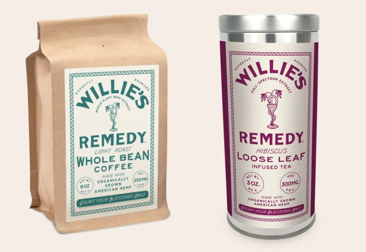 Willie's Remedy CBD-infused whole bean coffee bag and Hibiscus tea tin