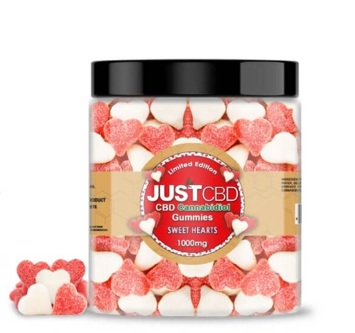 JustCBD gummies red and white hearts
