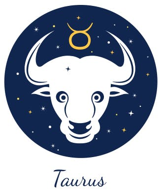 Taurus symbolized by the Bull and a circle with horns.