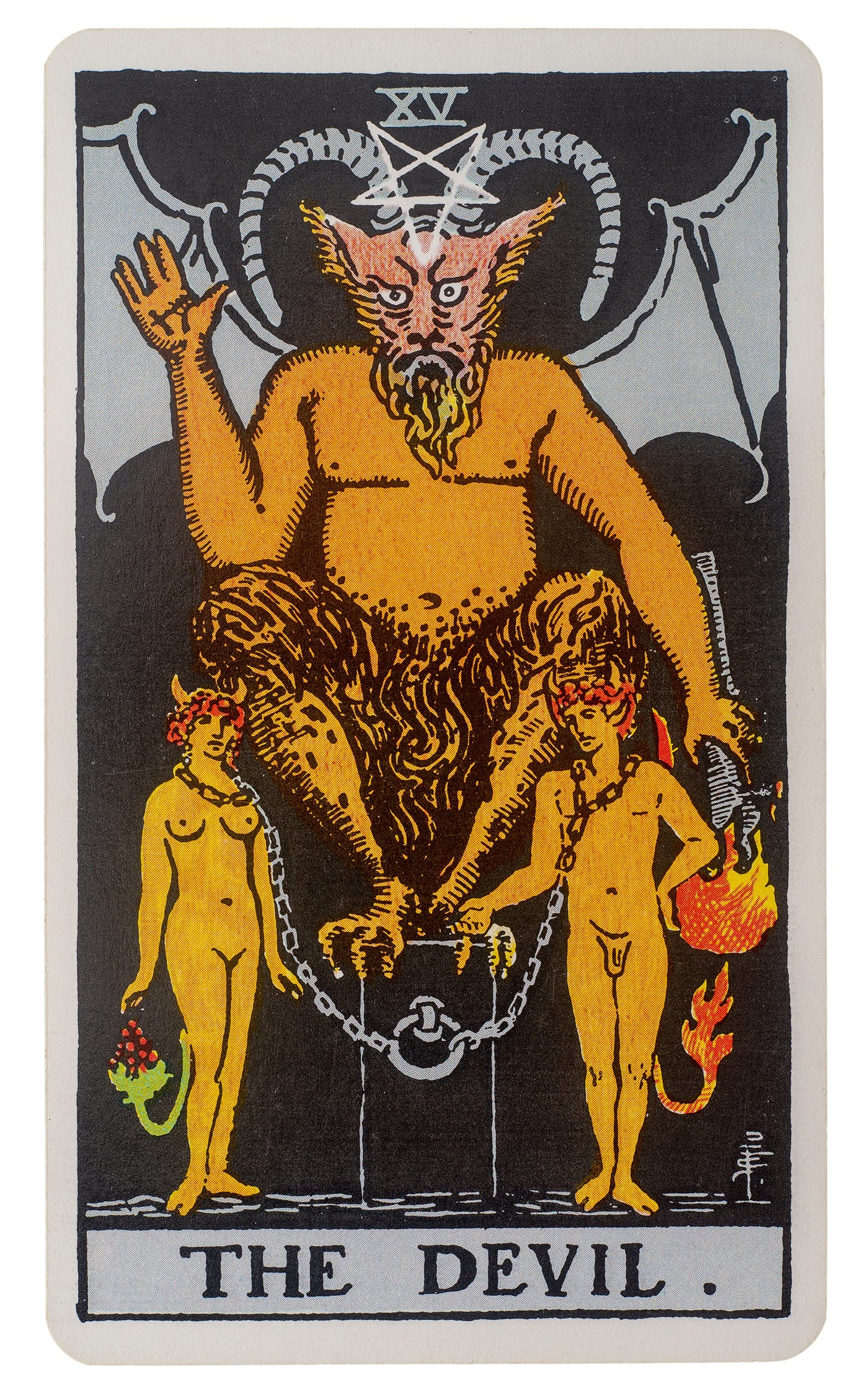 the devil tarot card as seen in the rider-waite tarot deck. image of a devil with two people chained to his throne and a pentagram up top.