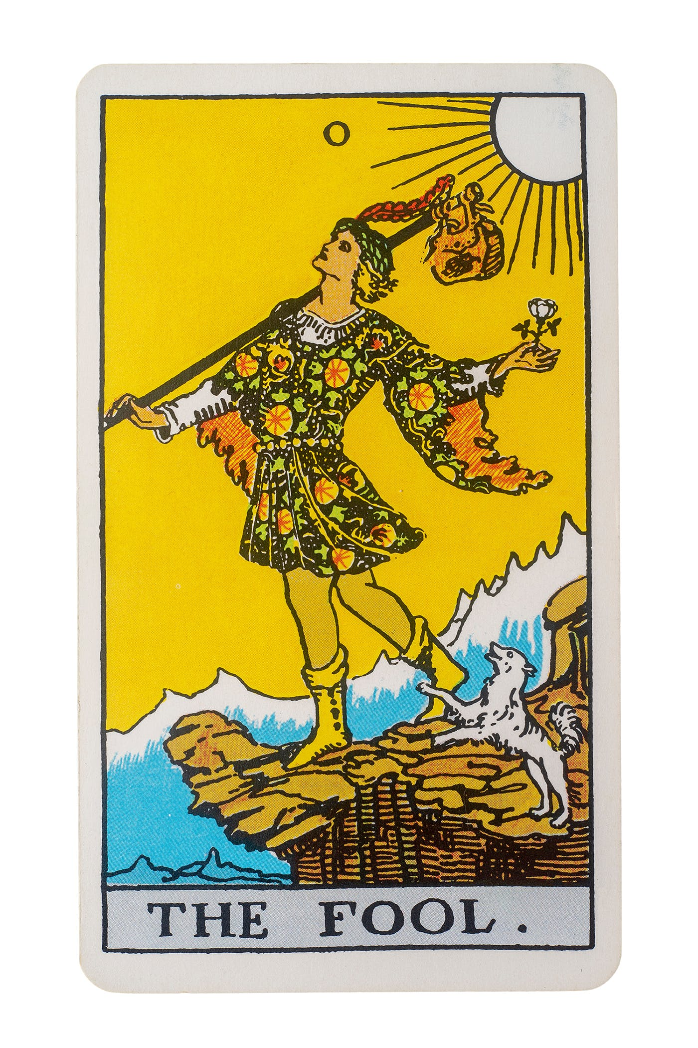 Image of The Fool in the Rider-waite deck. A man standing on the end of a cliff, not paying attention to where he is walking.