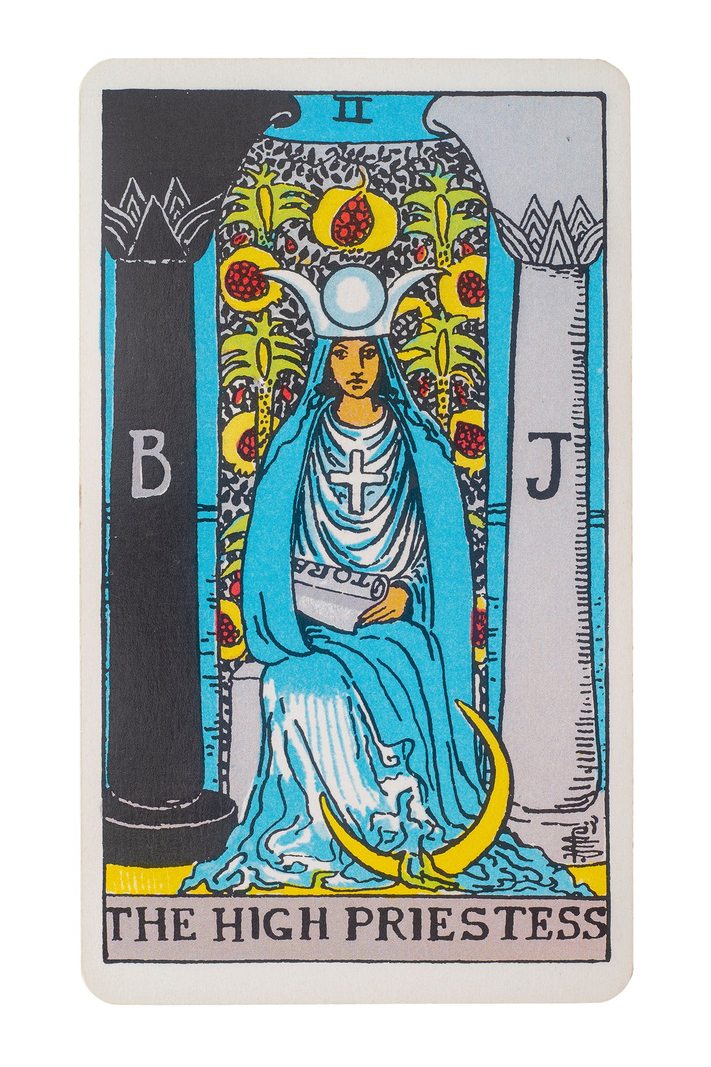 The High Priestess card. Features a women sitting in between two pillars with the moon at her feet.