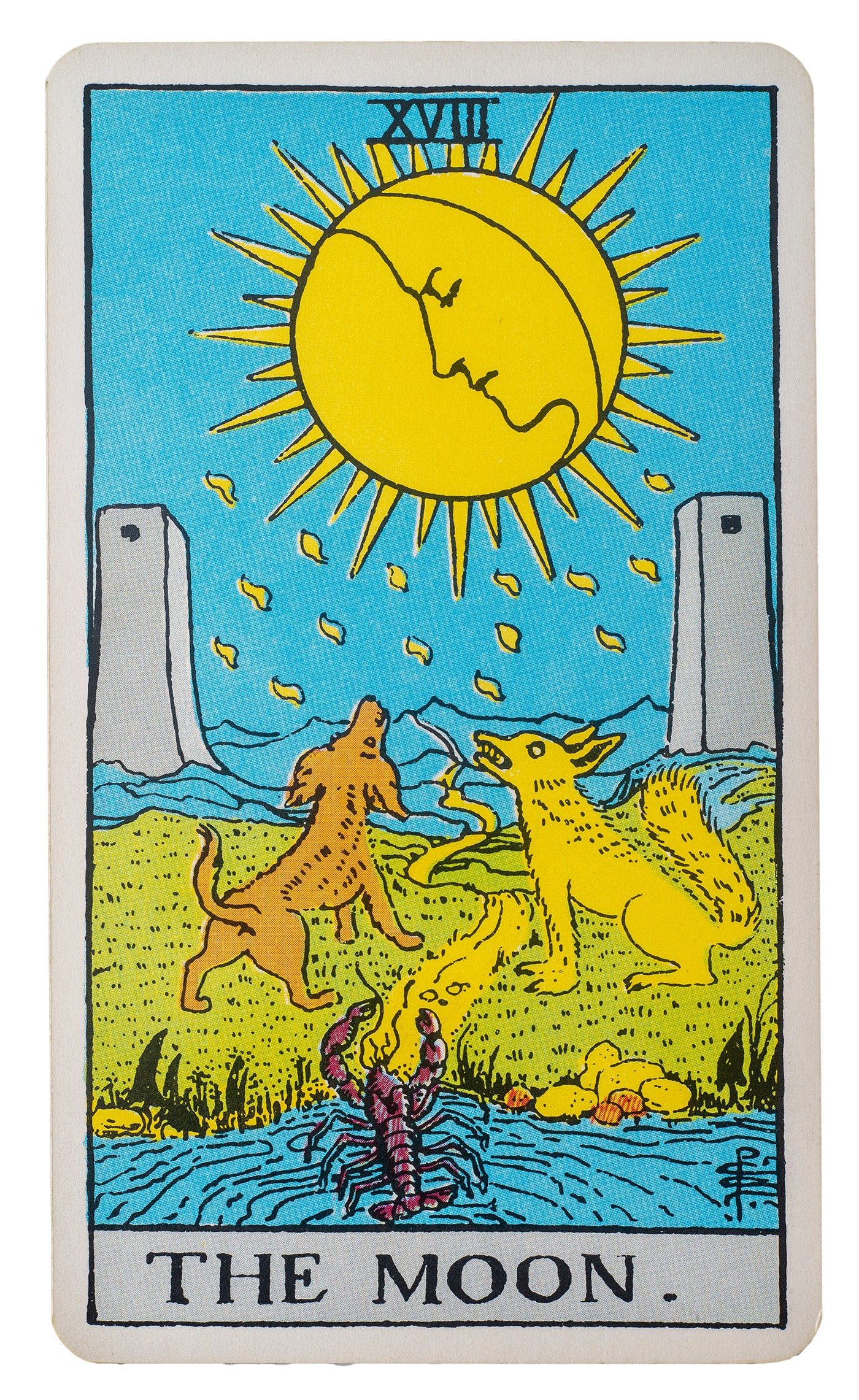 The moon card from rider-waite deck. image of three animals, a lobster, and two wolves howling at the moon.