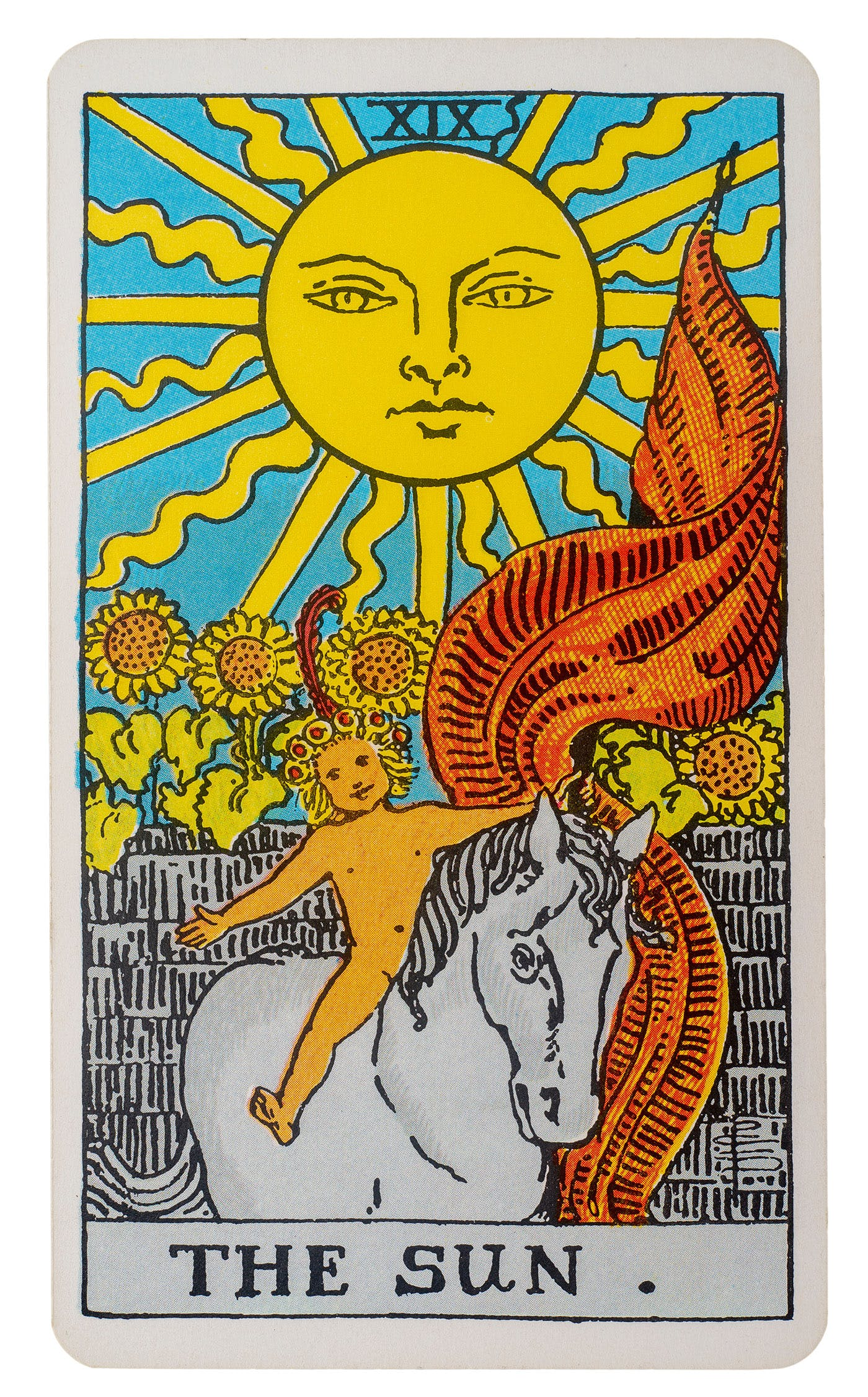 the sun card from the rider-waite deck. Image of a baby rising a horse with the sun and sunflowers in the background.