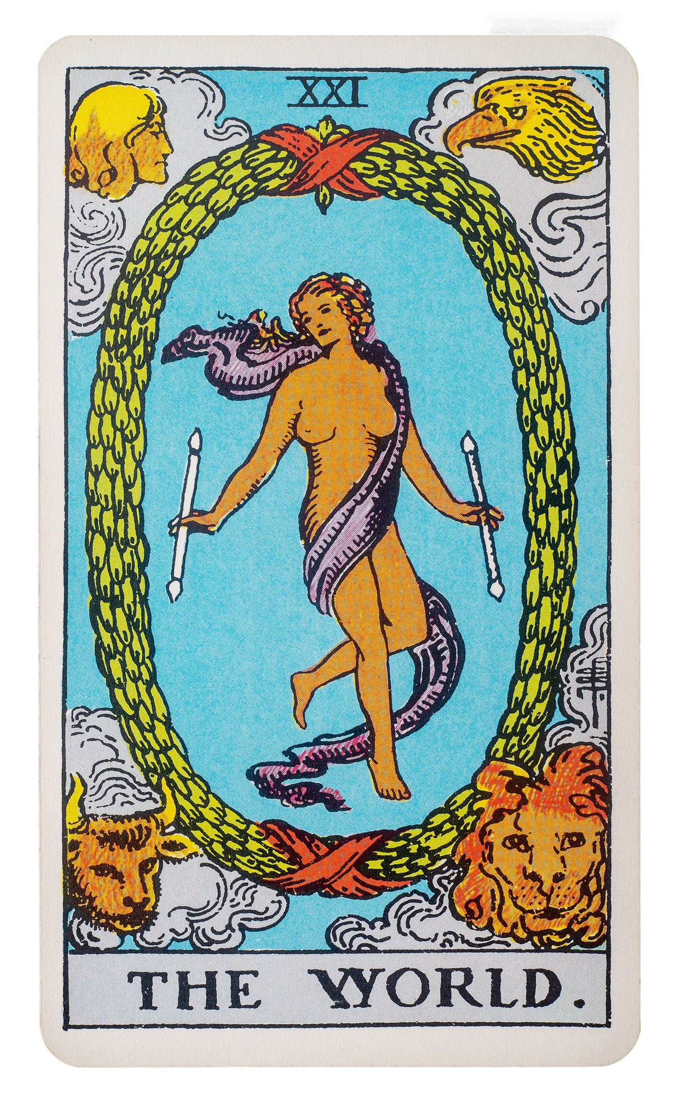 the world card from the rider-waite deck. features the image of a woman wrapped in a silk scarf and holding a staff in each hand. she is surrounded by a green wreath and floating above the earth. various creatures are in each corner of the card.
