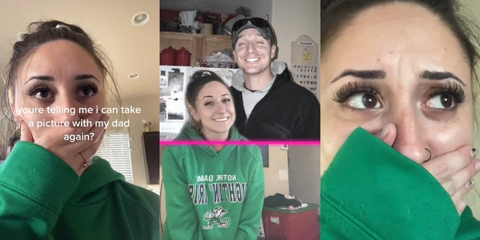 """girl with """"youre telling me i can take a picture with my dad again?"""" caption (L) girl taking tiktok greenscreen image with her father (C) girl with her hand over her mouth (R)"""