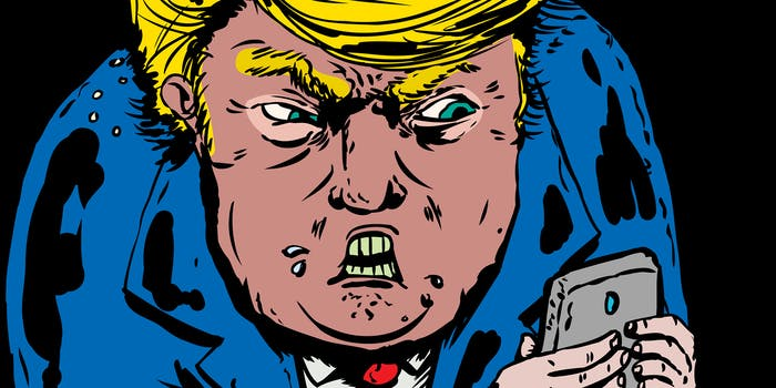 illustration of angry donald trump on phone