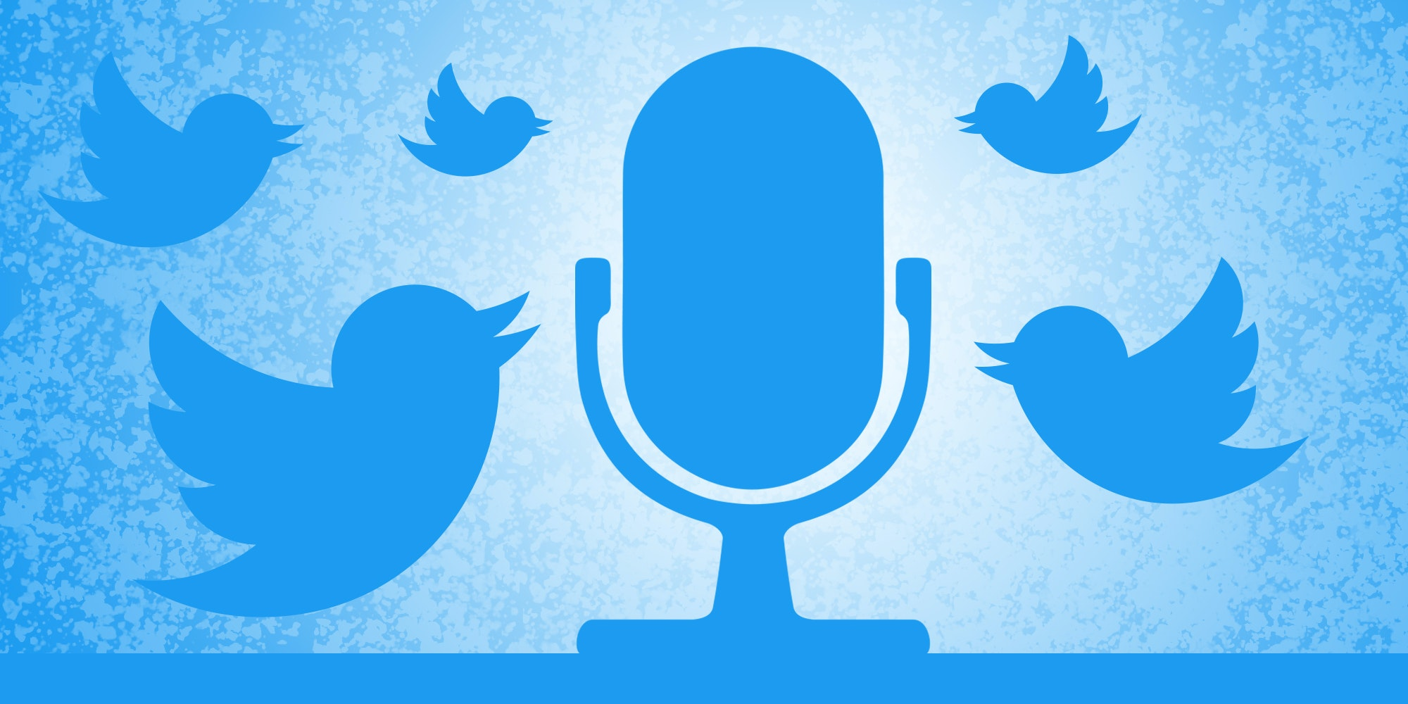 Twitter bird logos fluttering around microphone