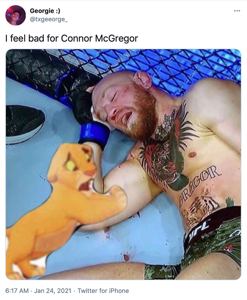 """""""I feel bad for Connor McGregor"""" a clip of Simba from the Lion King, a little yellow cartoon lion cub, rearing up on his hind legs and looking devastated with his front paws up on McGregor"""