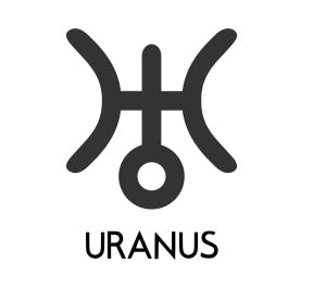 Uranus symbol on astrology reports looks like a capital H with a exclamation point in the center.