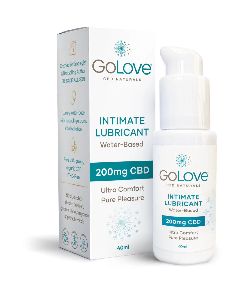 GoLove CBD lube applicator bottle and box.