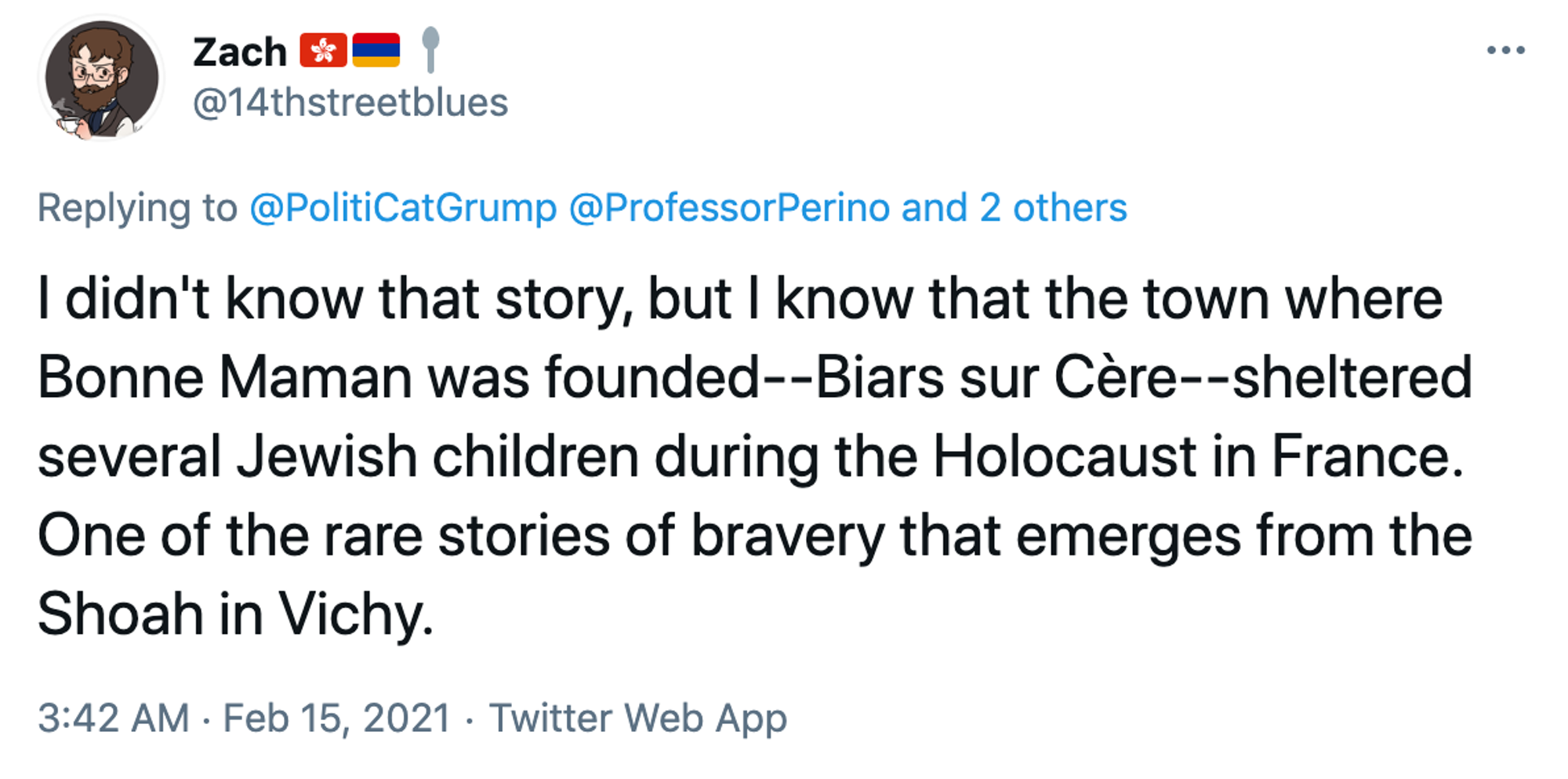 I didn't know that story, but I know that the town where Bonne Maman was founded--Biars sur Cère--sheltered several Jewish children during the Holocaust in France. One of the rare stories of bravery that emerges from the Shoah in Vichy.