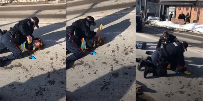 Barrie, Ontario police pin a skateboarder to the ground during arrest