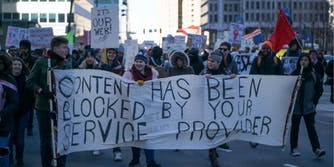 Supporters of net neutrality protesting.