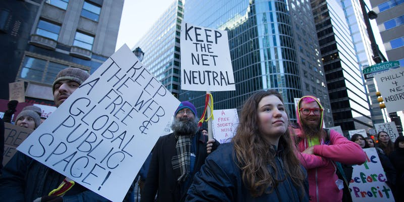 Demonstrators protesting in favor of net neutrality in 2018.