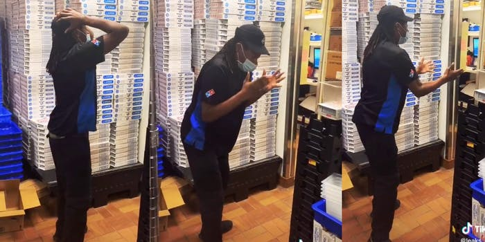 Domino's delivery workers breaks down