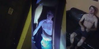 Motel door - man opening door- shirtless man on couch in motel