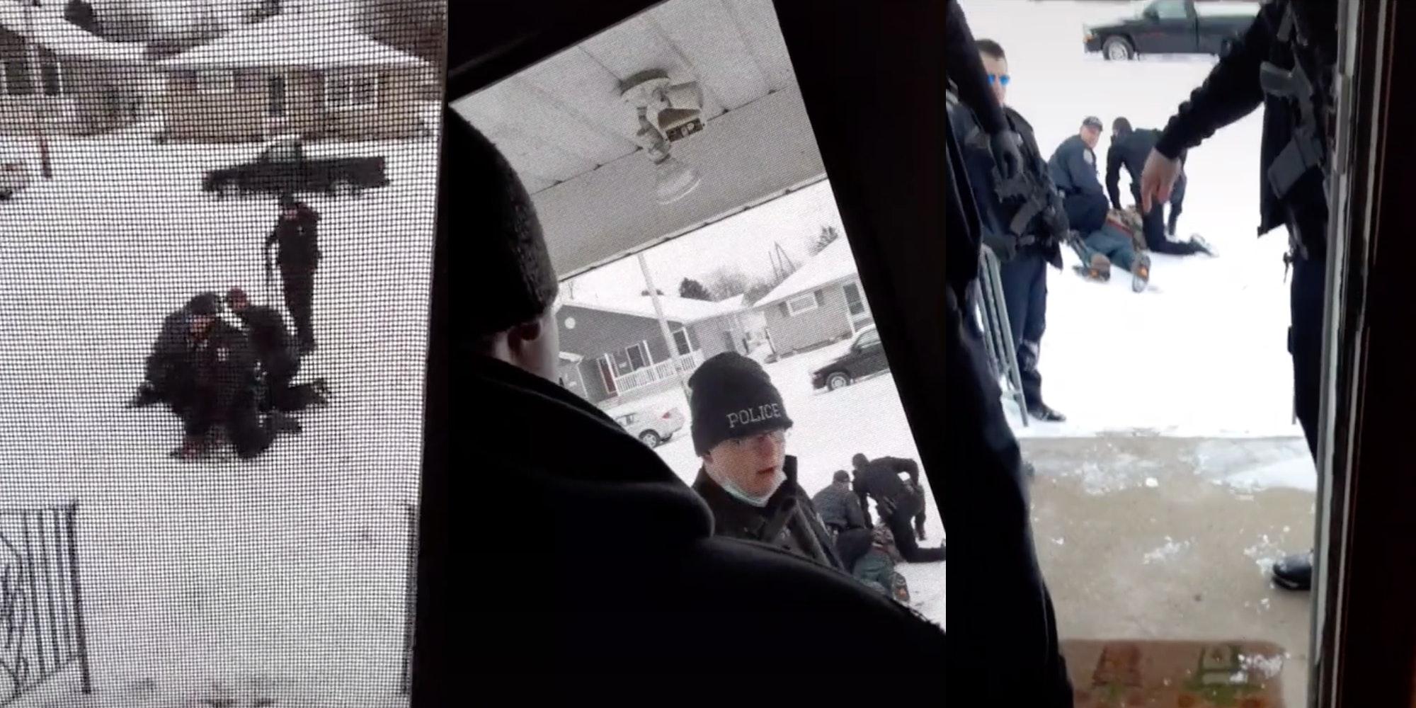 Five police officers arrest a single man - maskless