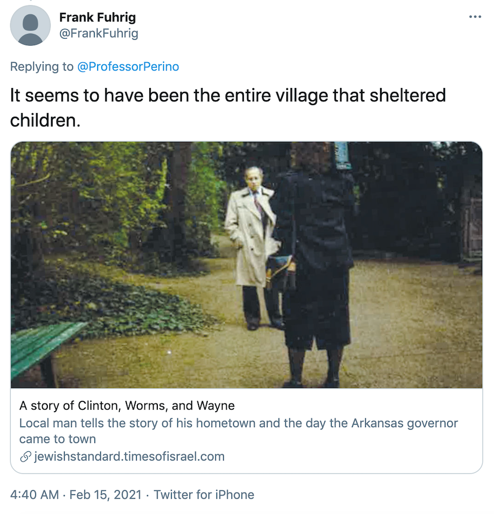 """""""It seems to have been the entire village that sheltered children."""" Link shared in the text above"""
