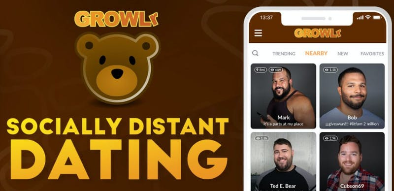 Gay dating app GROWLr Twitter banner