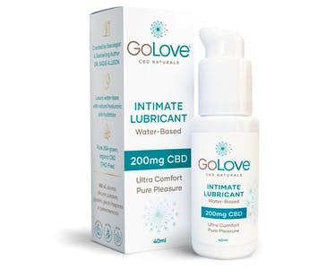 Image of GoLove CBD lubricant and its packaging.