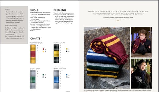 Directions to knit a Harry Potter house scarf from the book Harry Potter Knitting Magic.