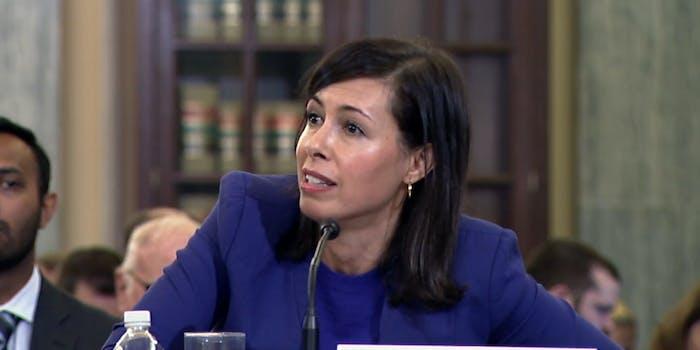FCC Commissioner Jessica Rosenworcel testifying before Congress in 2018.