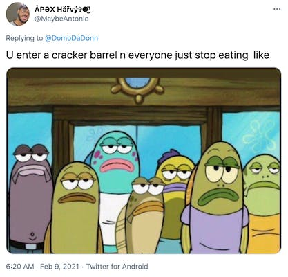 """U enter a cracker barrel n everyone just stop eating  like"" screen grab from Spongebob Squarepants showing a group of deadpan staring fish"