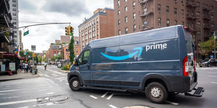 An Amazon delivery truck driving in New York.