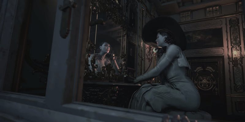 Resident Evil Village character Lady Dimitrescu looking in mirror