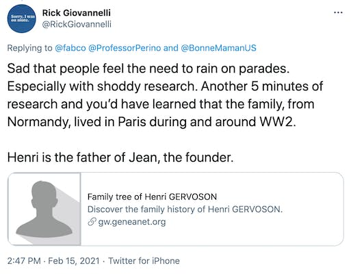 Sad that people feel the need to rain on parades. Especially with shoddy research. Another 5 minutes of research and you'd have learned that the family, from Normandy, lived in Paris during and around WW2.   Henri is the father of Jean, the founder.  https://t.co/X3Wcwfiy4e?amp=1