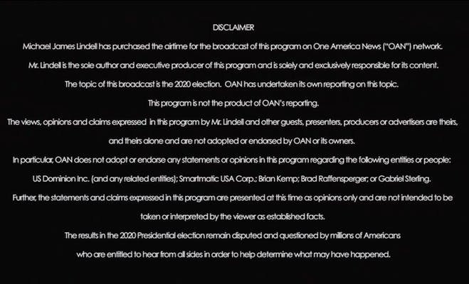 oan disclaimer before mike lindell documentary