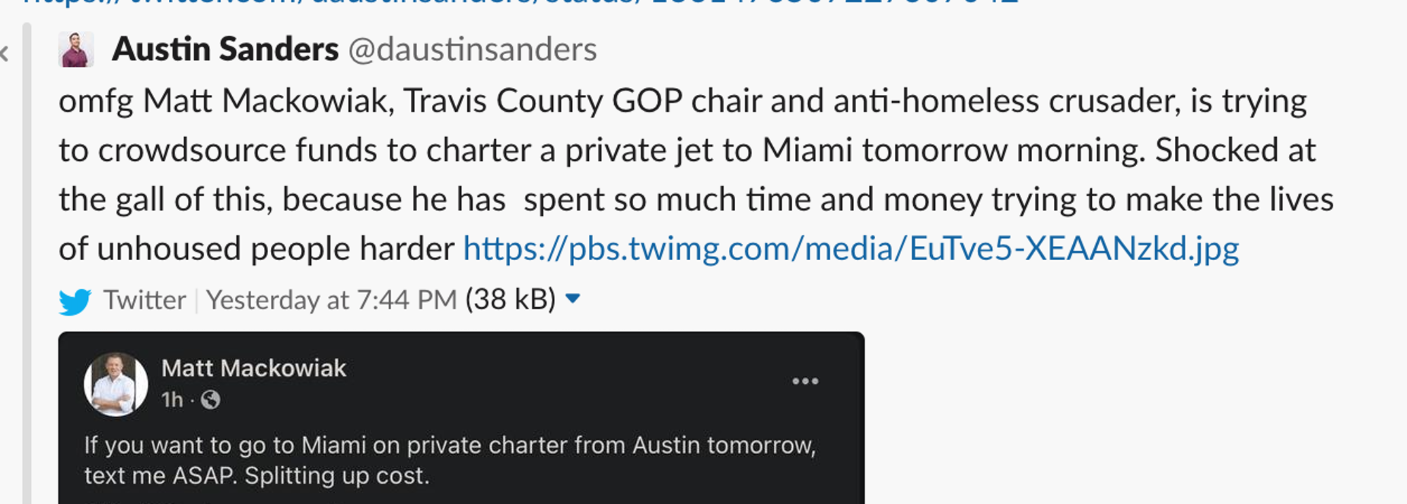 austin gop trying to fill private jet post on facebook