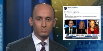 Stephen Miller next to a tweet mocking him for criticizing the 'cruelty' and 'inhumanity' of Biden's immigration policies.