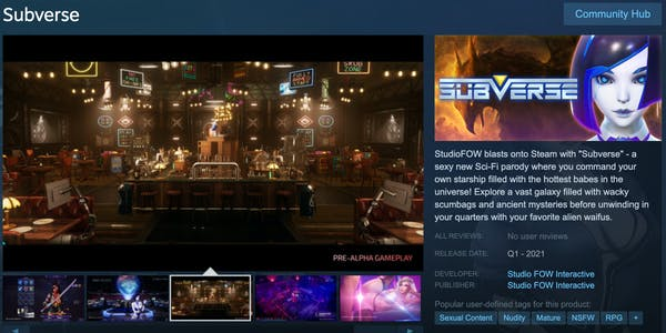 Subverse game page on Steam