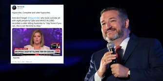 Ted Cruz next to an old tweet of his criticizing Austin's mayor for leaving during COVID. The tweet has resurfaced as he fled Texas for Cancun during a winter storm crisis, which also sparked memes.