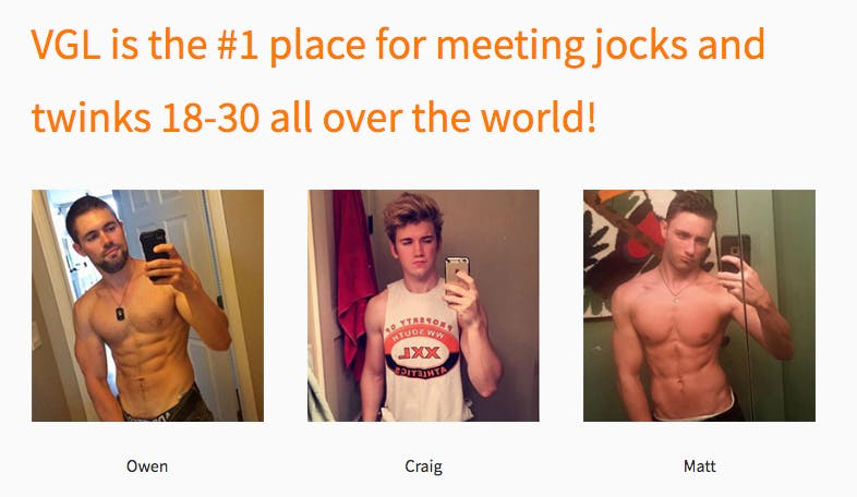 Sample profiles on the gay hookup app VGL