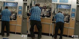 Elderly man at Walmart pharmacy attempting to get prescription