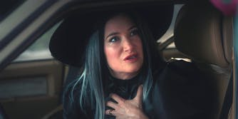 agatha harkness dressed as a witch in wandavision