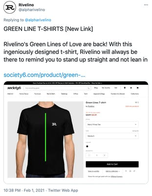 """""""GREEN LINE T-SHIRTS [New Link]  Rivelino's Green Lines of Love are back! With this ingeniously designed t-shirt, Rivelino will always be there to remind you to stand up straight and not lean in  https://society6.com/product/green-lines3941220_t-shirt"""" a photograph of a black t-shirt with a green line down the middle and an R on the breast"""